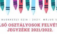 Első osztályosok felvételi jegyzéke 2021/2022.